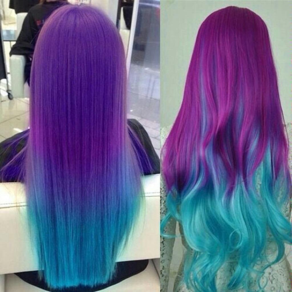 Покраска волос с переливом из одного цвета в другой