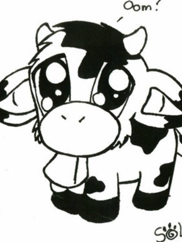 Cute chibi cow drawing