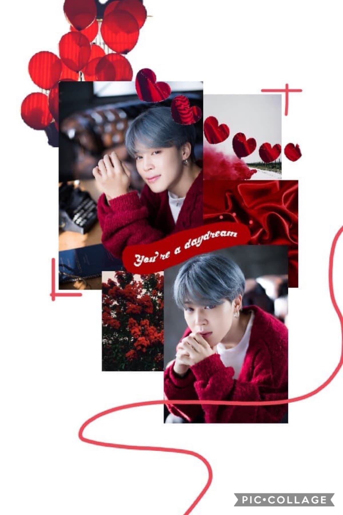 ♥️ tap ♥️  Heyyy ANOTHER Jimin collage because HE'S SO CUTE FOR CRYING OUT LOUD  This was inspired by someone but I can't remember their username or if they were even on Piccollage 😖  anyway qotd: favourite season? aotd: winter because I like the cold 😅⛄️