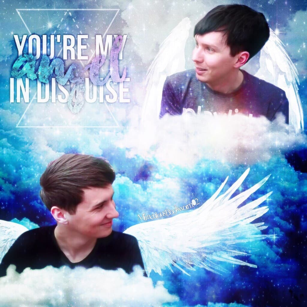 Dan and Phil angel AU edit (This one was super fun to make! Sure, the photoshopping was a bit of a pain in the neck, but adding the wings and effects really made it worth it!)