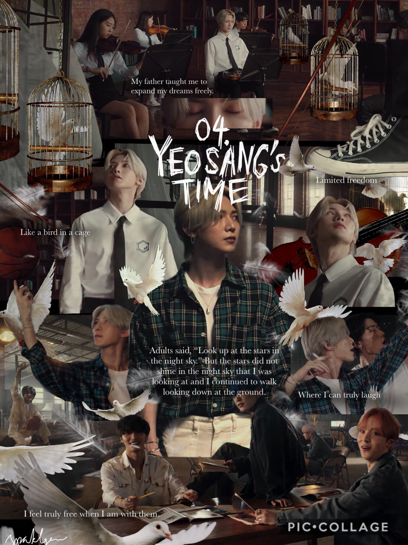 """[5/10] 04. """"Yeosang's Time""""  YS talks about """"time"""" & """"adults"""" so maybe he doesn't want to grow up (peter pan/lost boys reference) & give into society's standards of success/maturity (the violins) because it gives him limited freedom (birdcage)"""