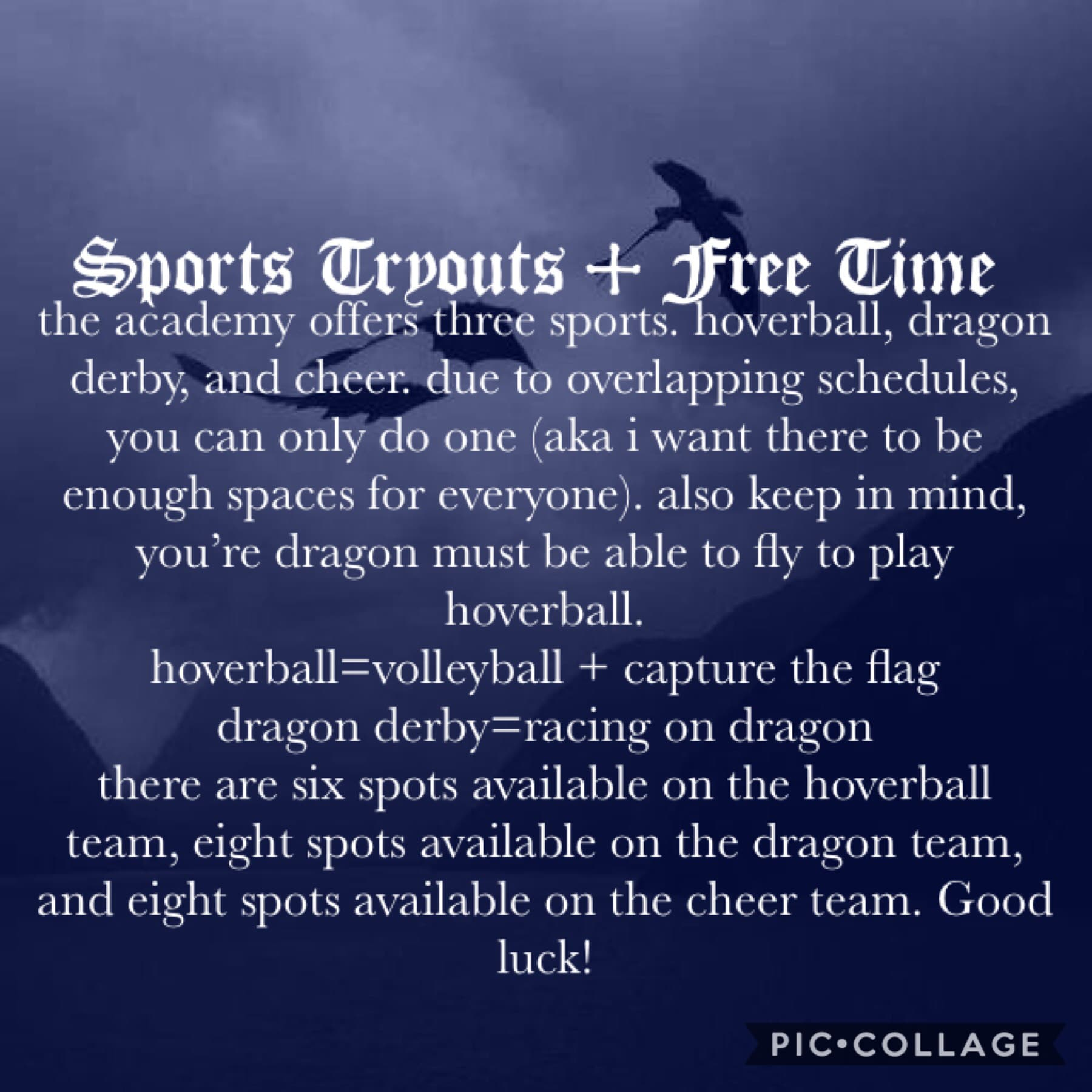 🖤Sports Tryouts + Free Time🖤