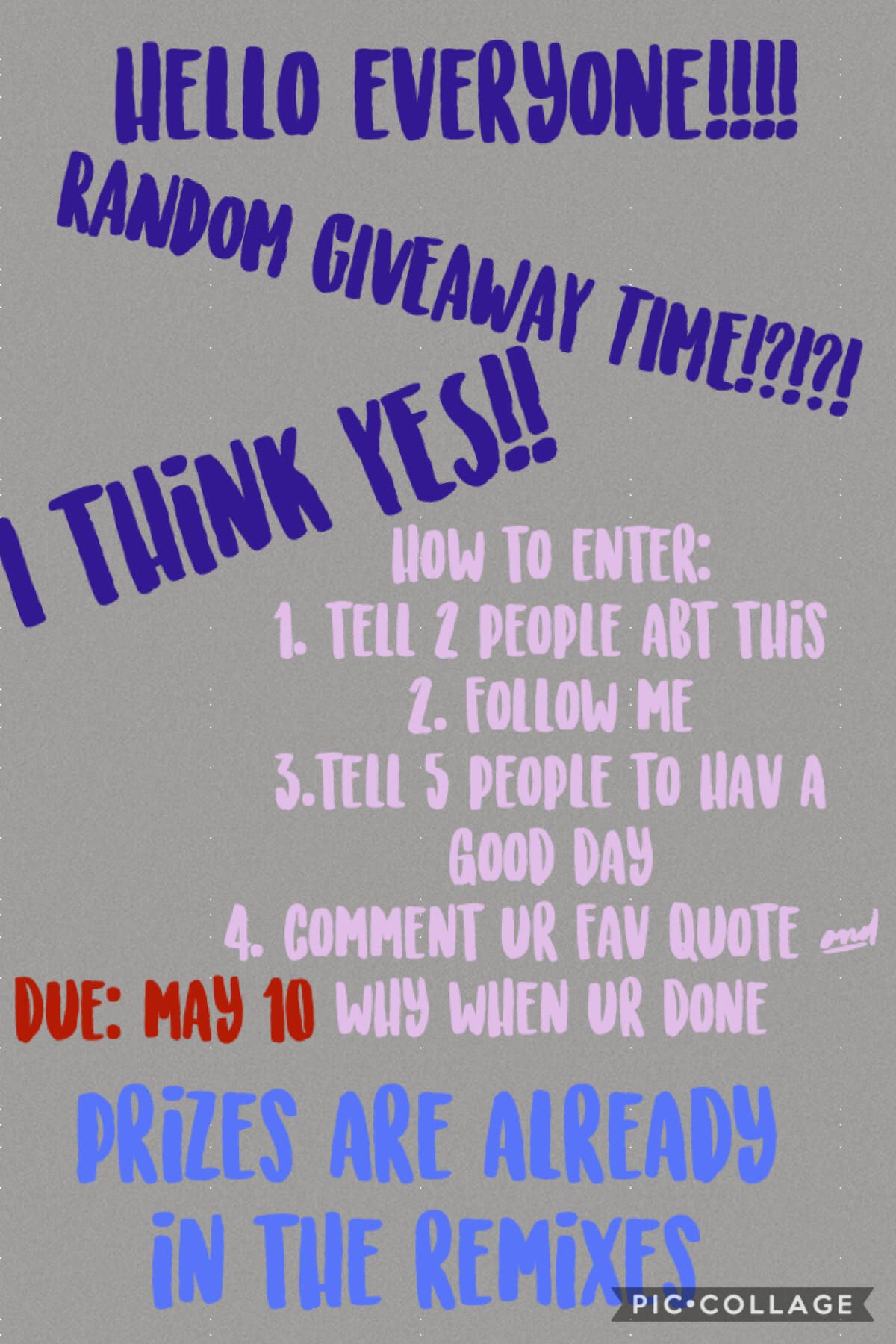 these random giveaways will happen 1 time every month during the summer ... so be ready for a summer of AWESOMENESS!!!