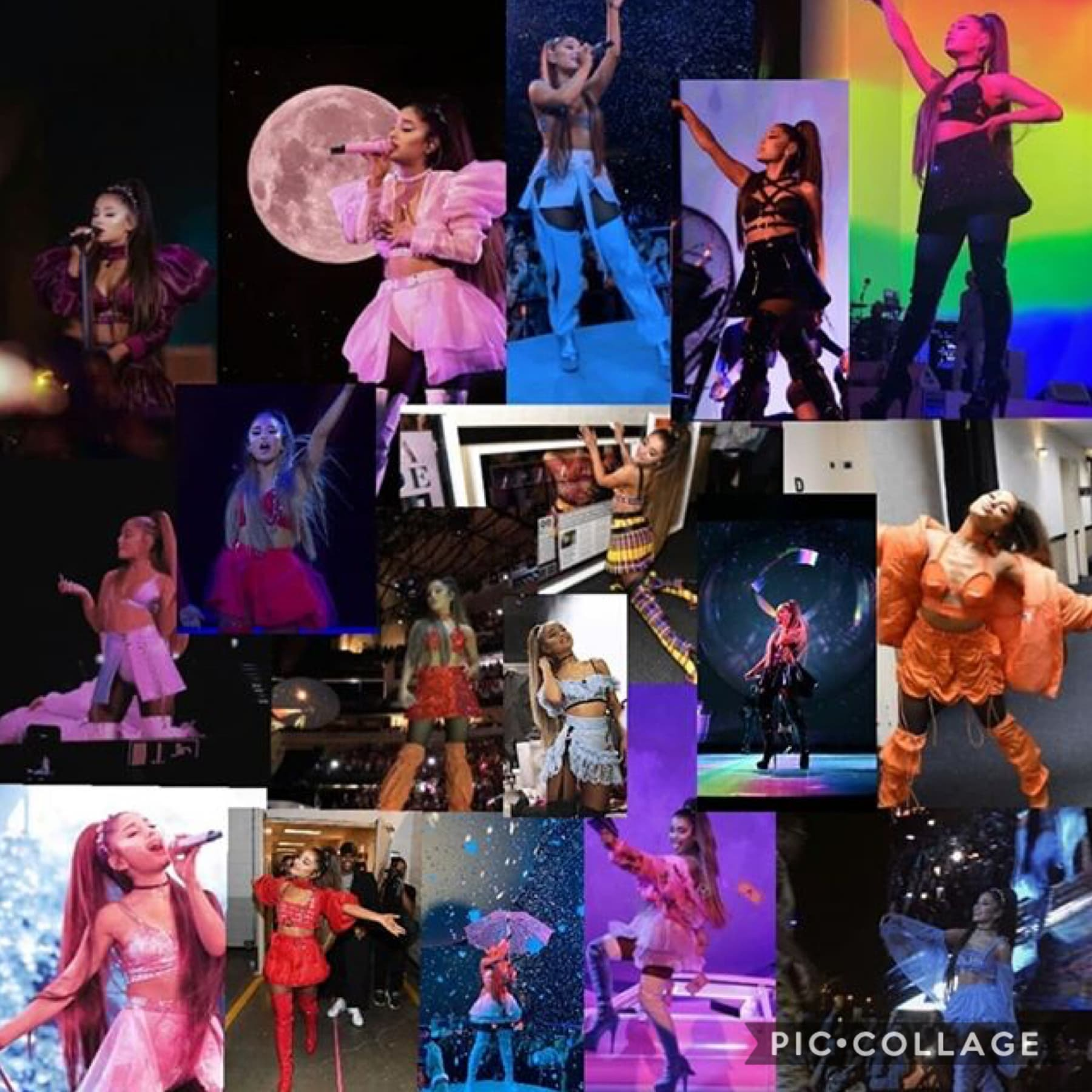 All of Ariana sweetener world tour outfits in one collage/edit❤️😭✨