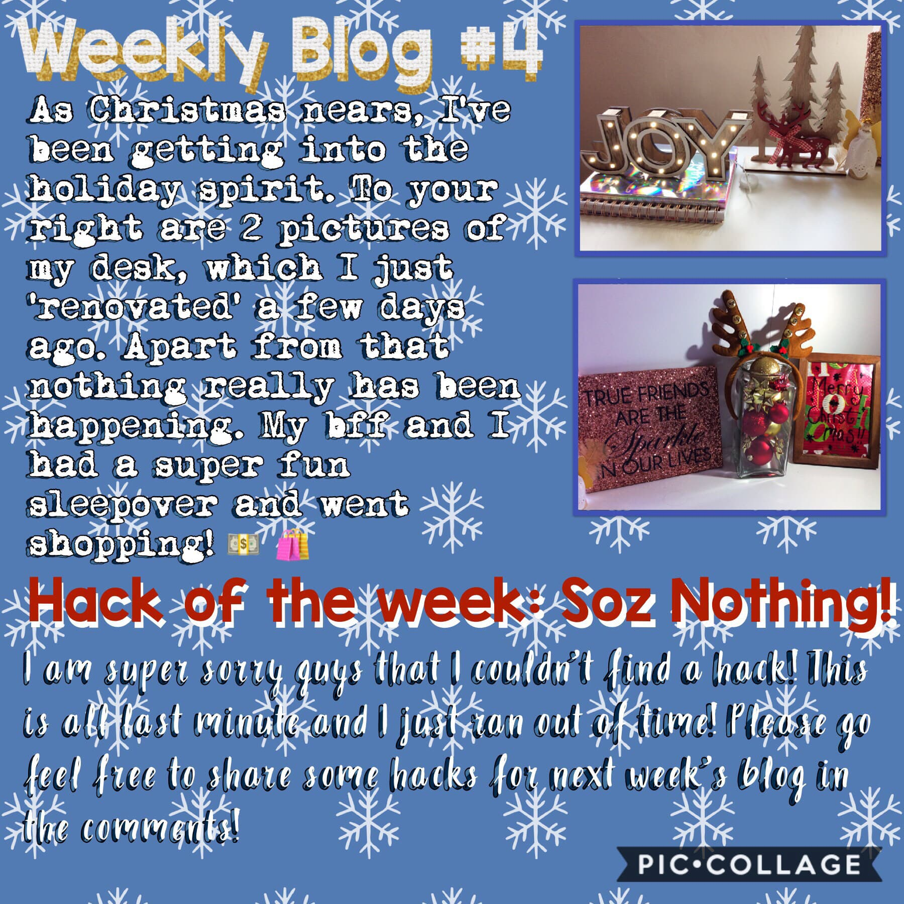 ❄️ Weekly Blog #4! Soz for no hack this week! ❄️  2/12/18