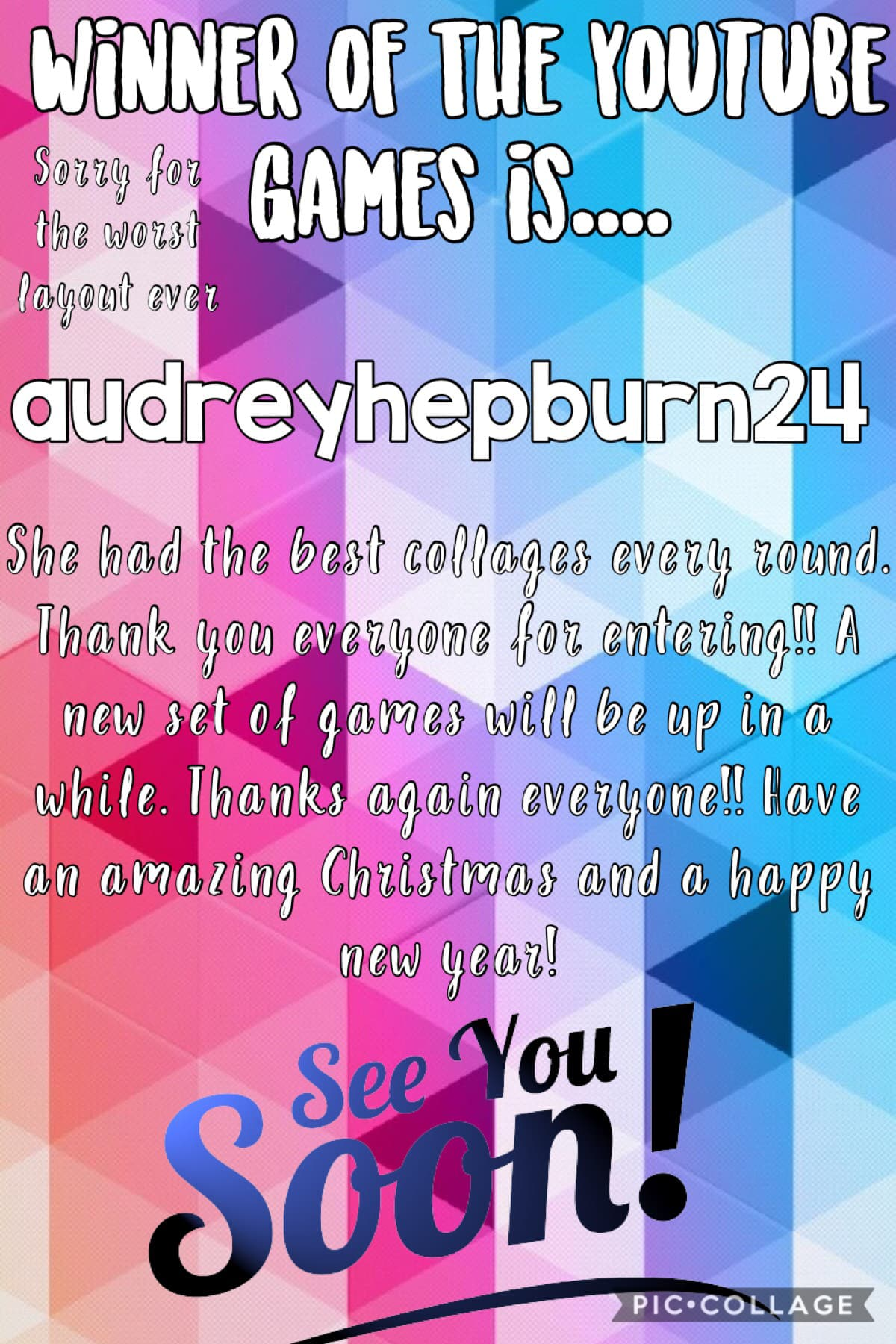 Congratulations to audreyhepburn24!!!  New games will either be up shortly, or in the next few days.