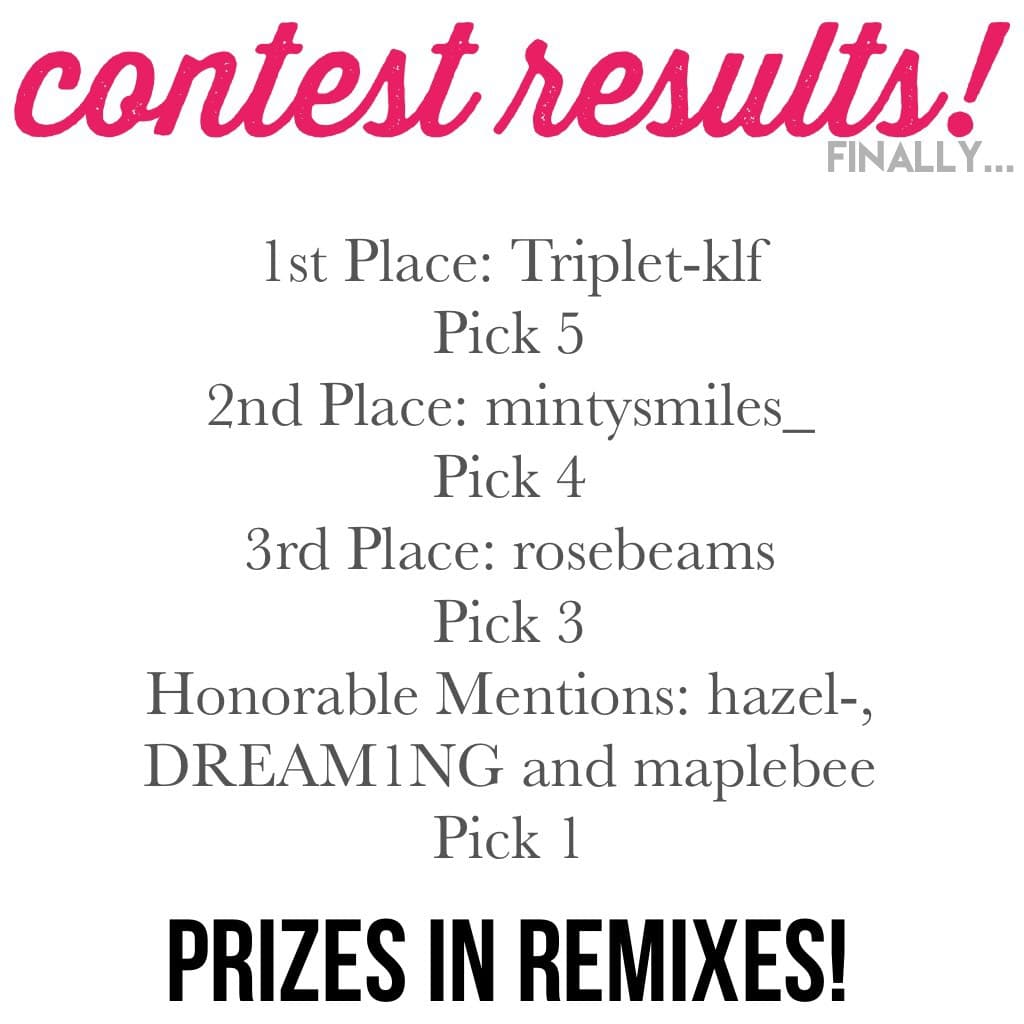 Congratulations to all of these people! Thank you all for entering and do not feel bad if you didn't win! Prizes will be in the remixes!