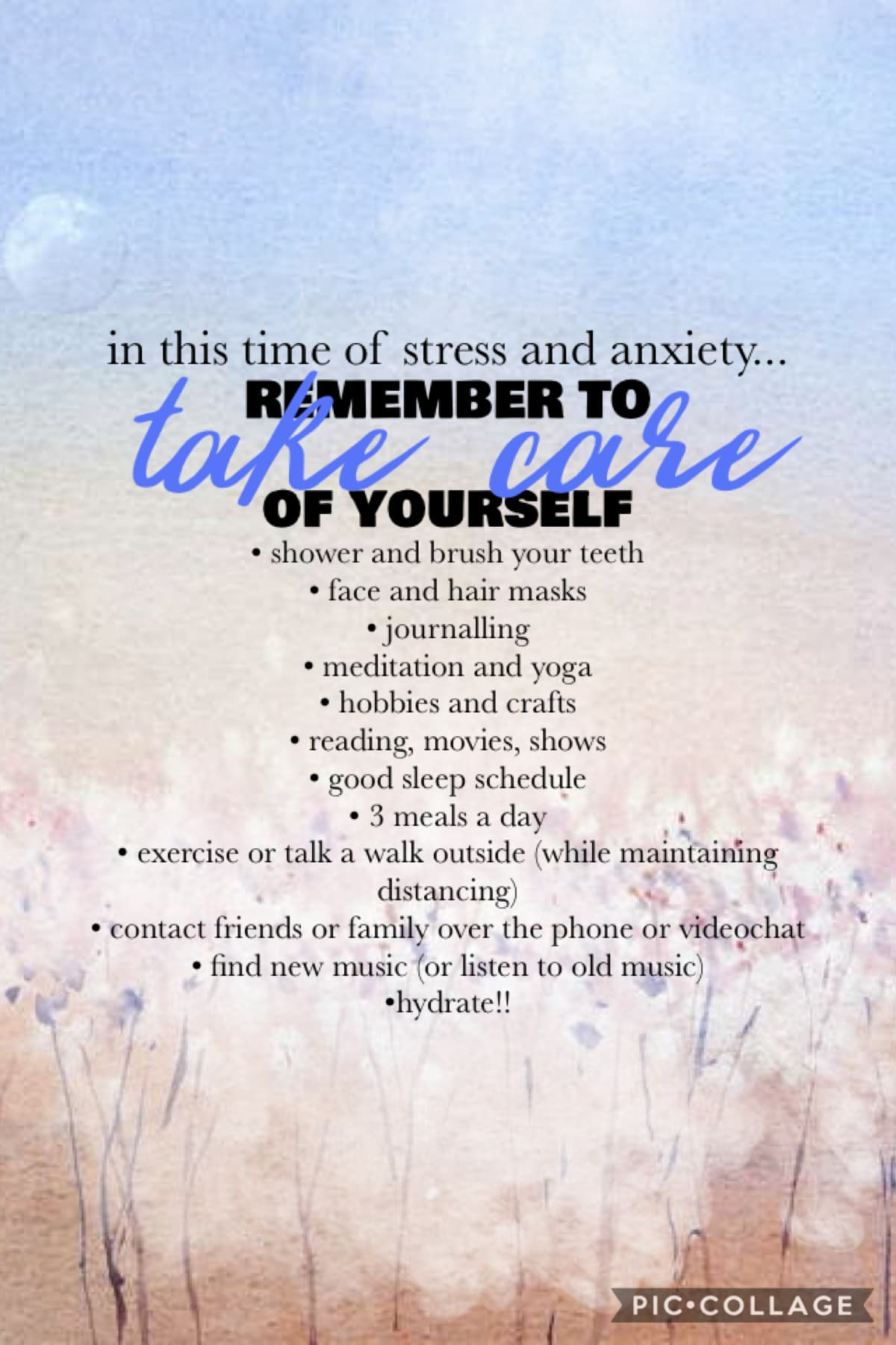 The virus is affecting everyone differently and may be causing more anxiety and hurting your mental health so remember to take care of yourself!💕 —side note: Sorry if I take long to respond!—