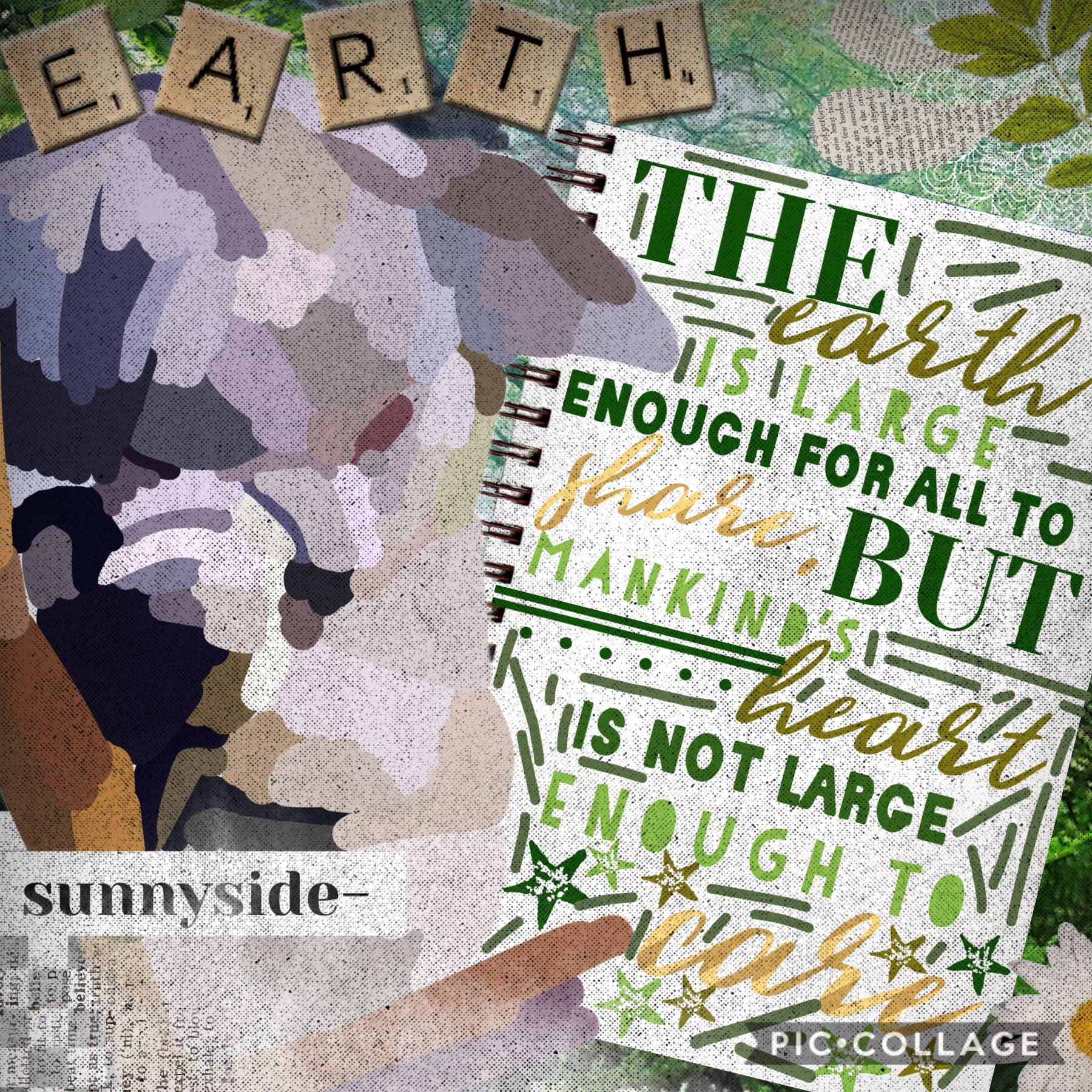 I've never been so inspired to make a collage. (tap)  You probably can't tell, but this is a koala. I'm just bad at tracing images 😔 this quote is so powerful omg
