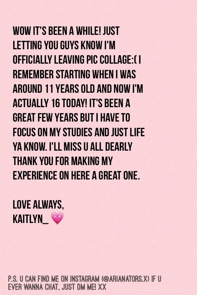 Thanks for everything guys x