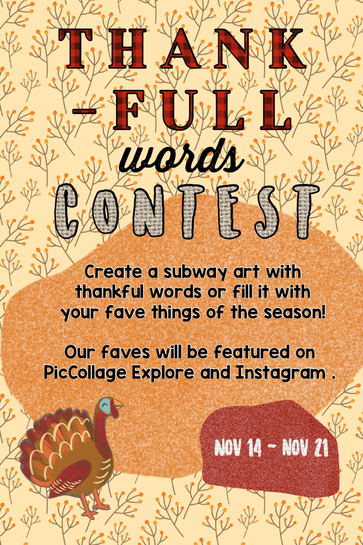🦃 Thanksgiving contest is live! Deadline is November 21 🍁