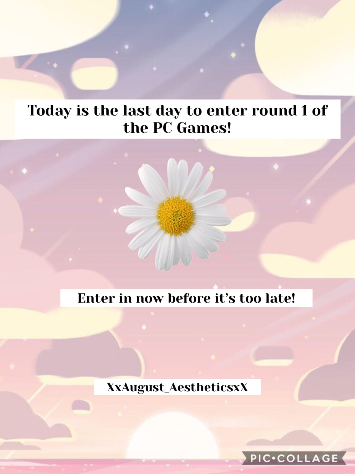 ⭐️TAP⭐️ Last day the enter the pc games guys, voting will begin tomorrow. Good Luck!