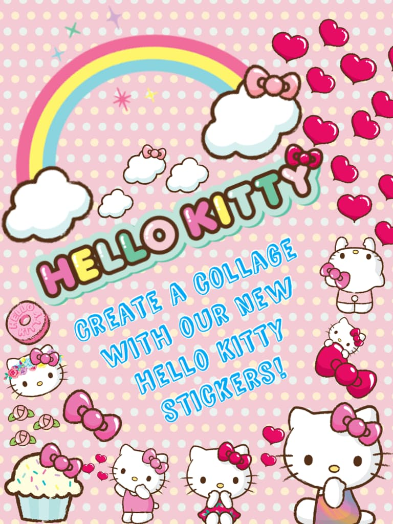Create a collage with our new Hello Kitty stickers!