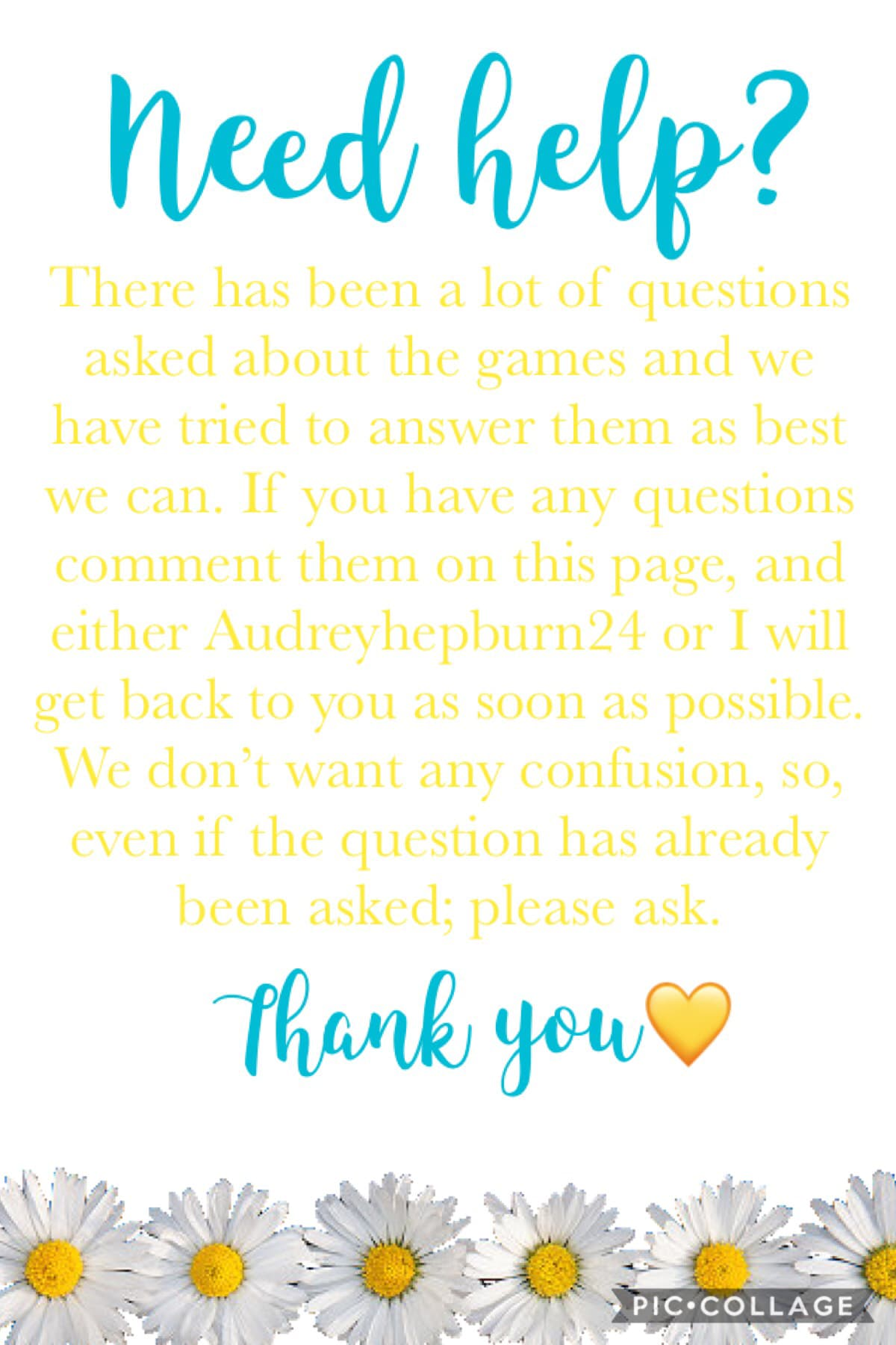 Tap 🌸  If you have any questions about the games, please ask them on this page. We would be more than happy to help you. 💛