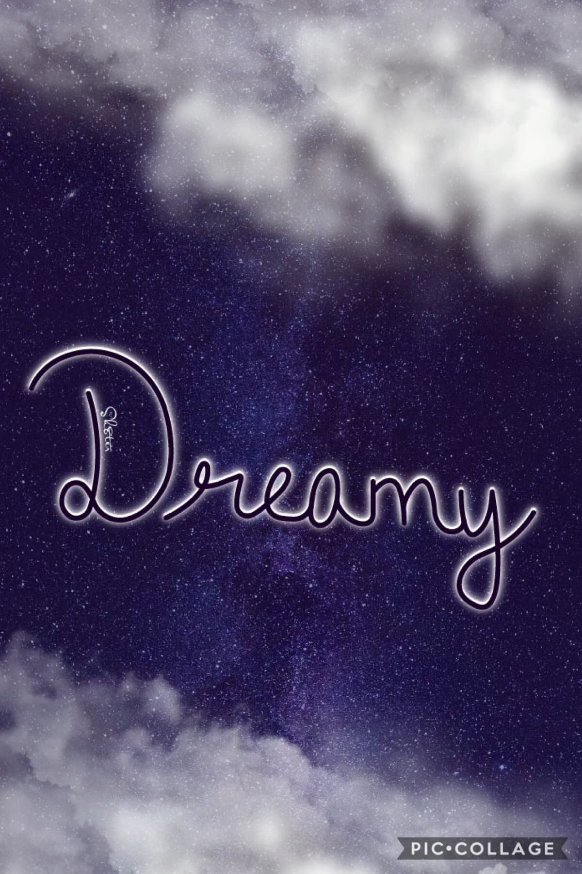 My hand lettering :) Dreamy🌙✨💜 #dream #handwriting #stars #quickpost #dreamy #clouds