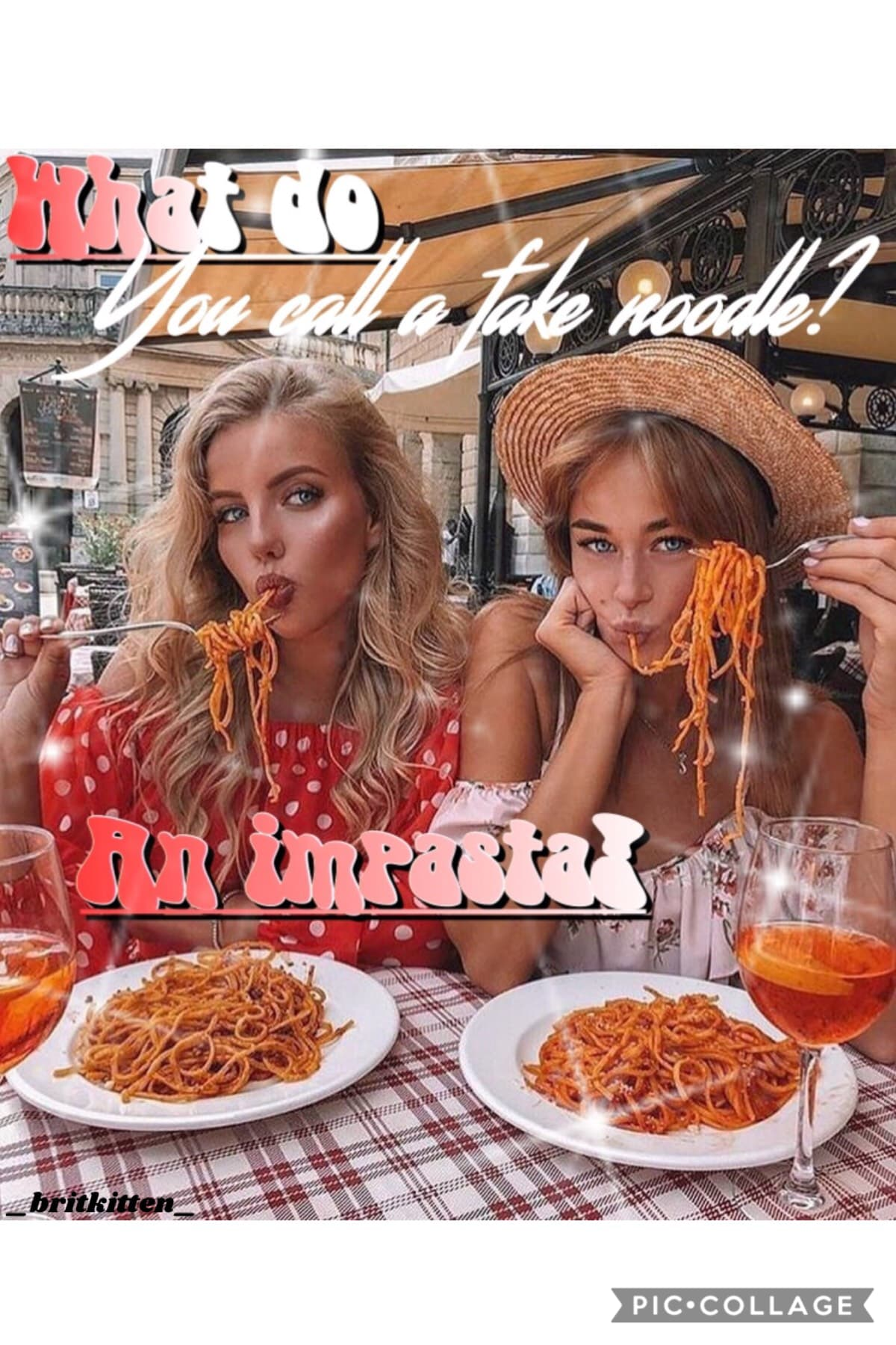 Entry to piccollage's contest for best dad jokes! I LOVE THIS ONE 😂 QOTD- do u like spaghetti? AOTD- yes!! 🍝 is my favorite!