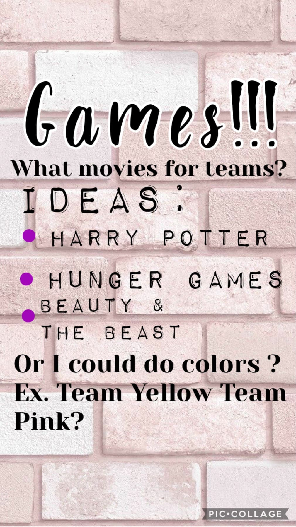 🎨TAP🎨 Comment what movies I should do!!  Or comment if you like the colors idea better! If you like the colors comment 4 of your favorite colors!