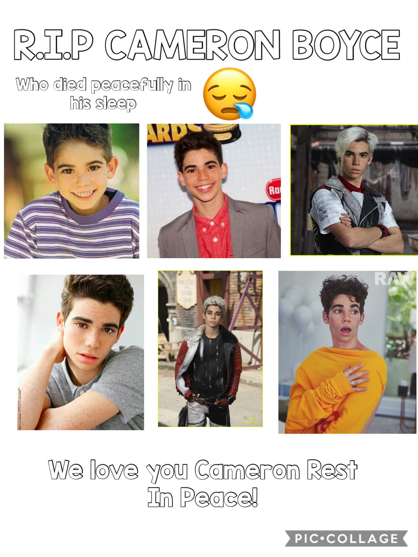 Rip the best actor Cameron Boyce  Let's all like to appreciate this amazing guy
