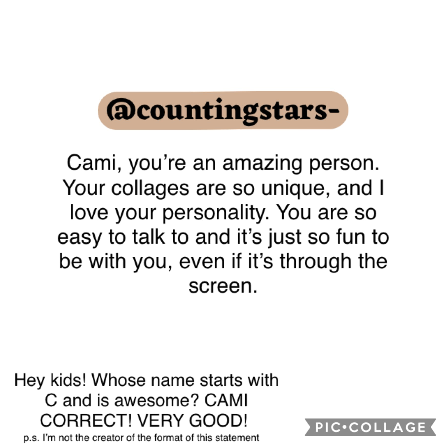 Cami, you're a star