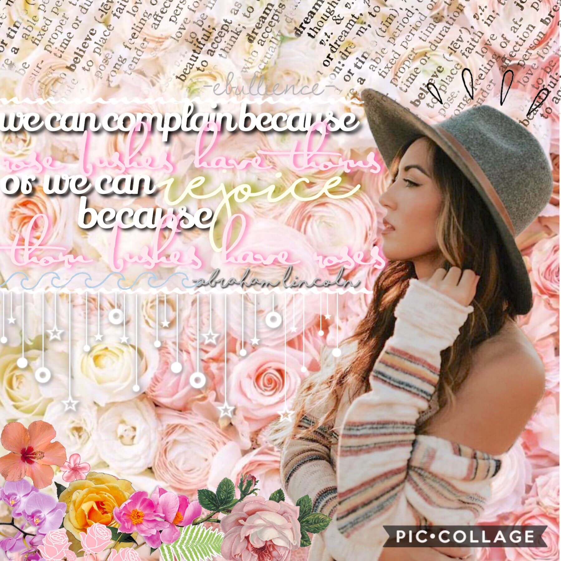 ✨tap✨ Hello lovelies! Hope you had an awesome day! In this collage I used a lot of the floral stickers from pic collage in the bottom left corner, and I love how it turned out! Let me know what you think! QOTD:favorite PC font? AOTD:satisfaction 9/2/2018