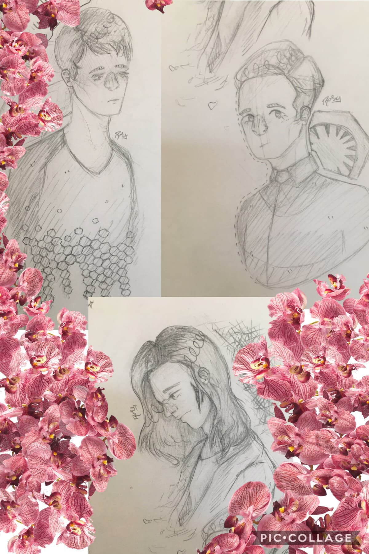 i have drawn too many domhnall gleeson characters over the past few months and it takes up an absurd amount of my sketchbook, these were all done a few months ago and there are flowers i got off of google images to hide shiТ I don't need y'all seeing or j
