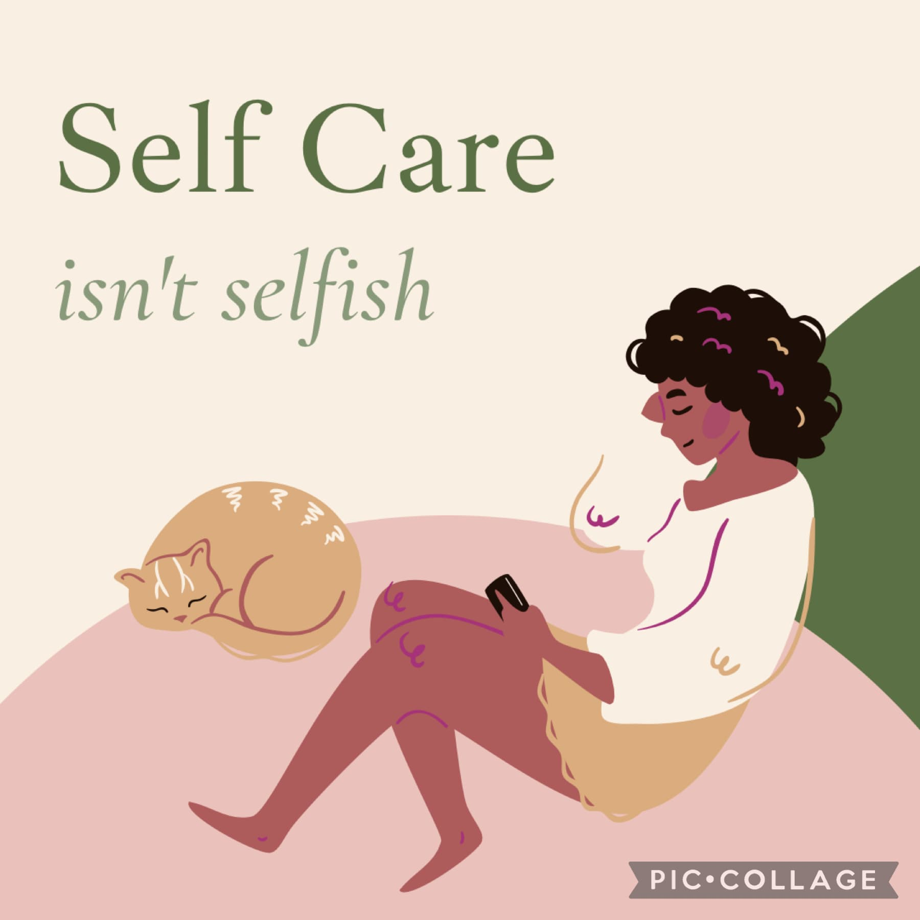 self care isn't selfish 💗  mental health check-in: how are you doing? what, if anything, are you feeling stressed about today?  reward yourself today!! you deserve it <3 template: canva