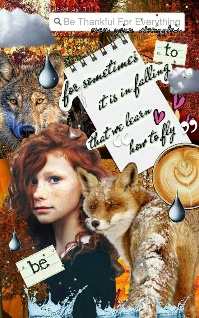 🍁 What Are You Thankful For? *click* 🍁  My Quote please give credit! pconly! (other than the premade)! ♥ Her red hair reminds me of one my closest BFFs! #missher ♥  Tags: PicCollage Collage quote girl pconly Thanksgiving stickers girl fox inspiration coff
