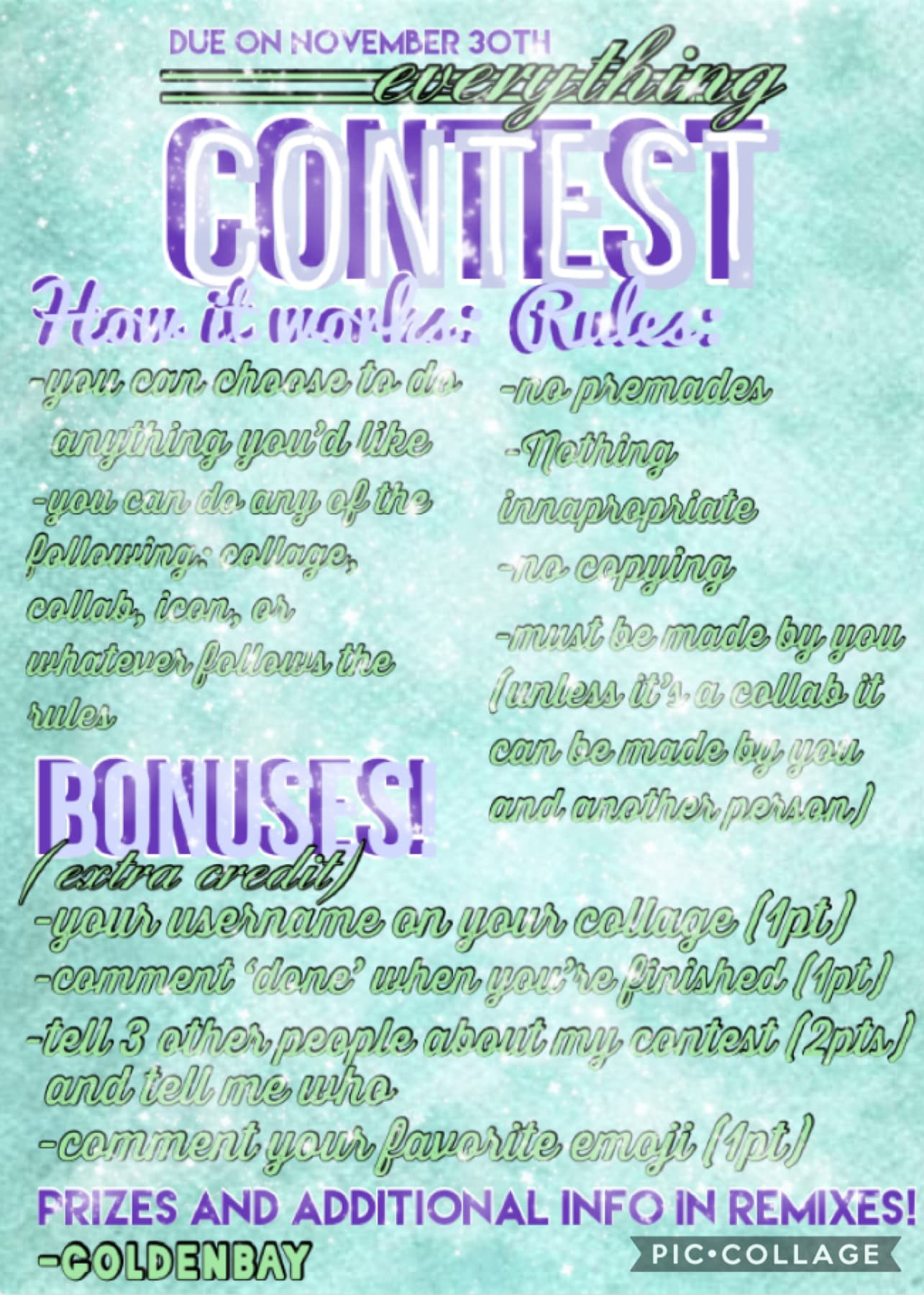 Taaaaap! Please enter this! Prizes and point system in remixes❤️  This was one of the top 2 choices when you guys votes so here you go!  Due November 30th