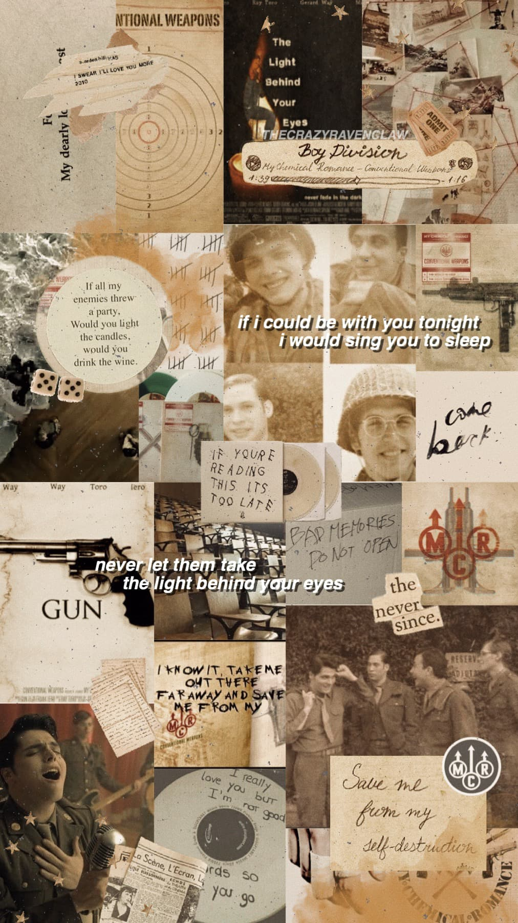 conventional weapons yea🤎 continuing my mcr album theme with this one! i took screenshots from the ghost of you mv for this last night and i cried for thirty minutes when mikey died :') comments?