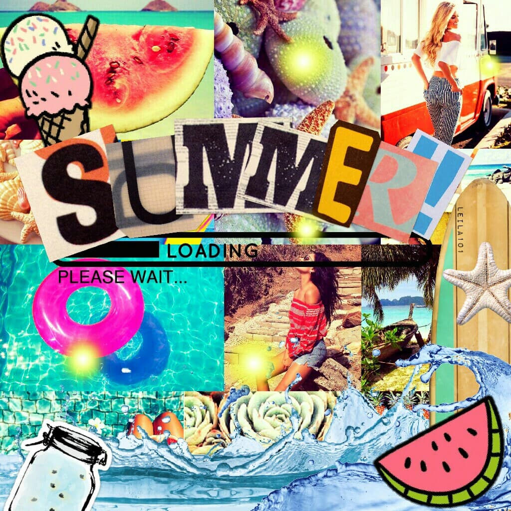 I LOVE THIS SOOO MUCH! ♥ ♥ ♥ Who else is SUPER excited for Summer!   Tags: Pconly collage stickers love summer stickers hello summer loading june 1st collage Leila101 summer break pool surf board starfish cute PicCollage heart