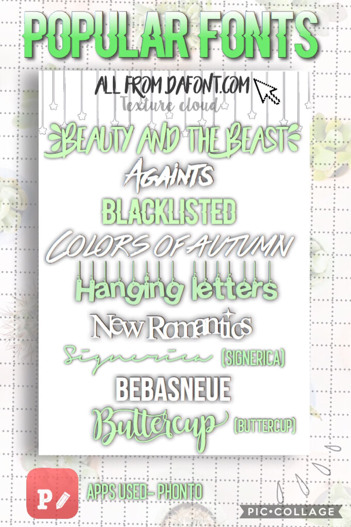 🍃Popular Fonts🍃 If you don't know how to download font, look in the comments for a detailed description.   Links to all also in comments 💕 enjoy!