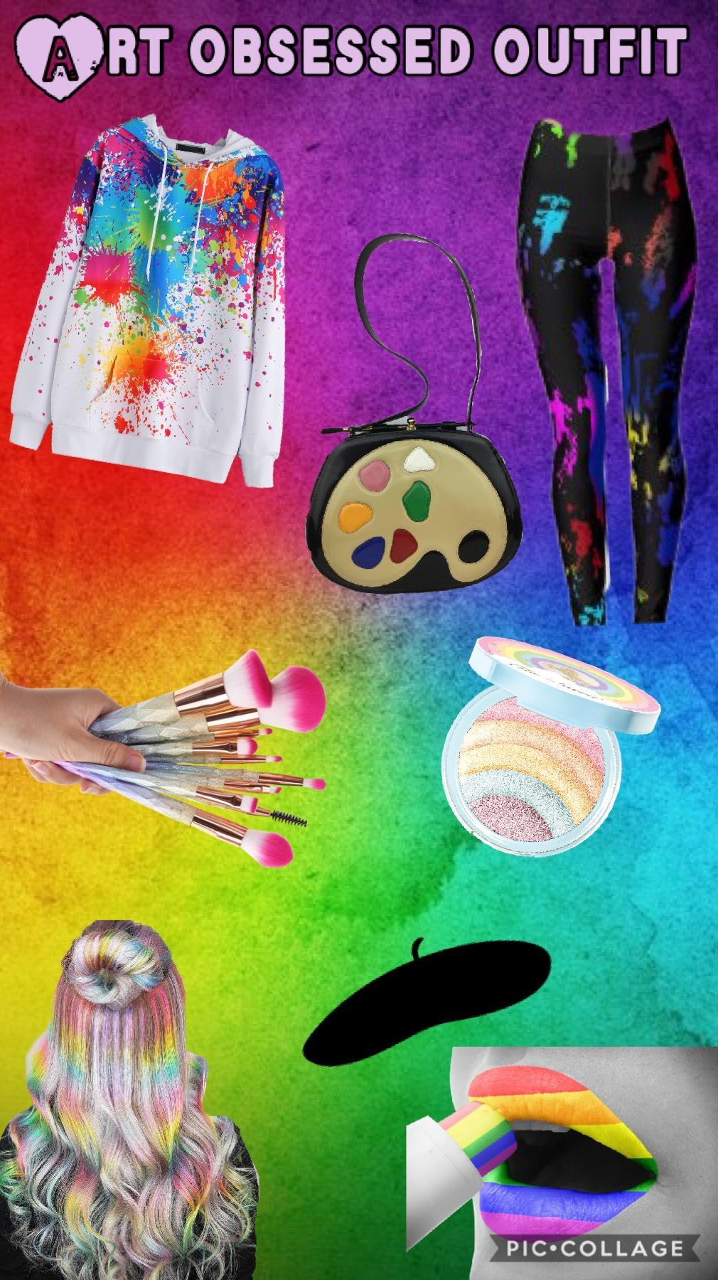 Art obsession outfit Tap Splatter paint shirt Leggings with paint drips Paint palette bag Rainbow makeup stuff Rainbow hair highlights Art beret