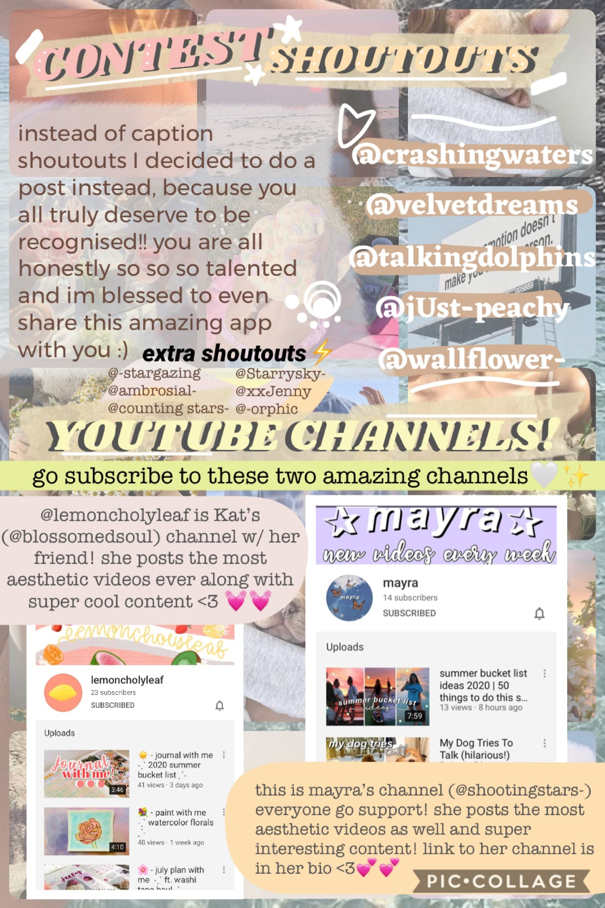 shoutout post⚡️✨im going to be doing shoutout posts every now and then to feature some of you because honestly your talent blows me away🤯🤩alsoo everyone go sub to these YouTube channels!!💗💓