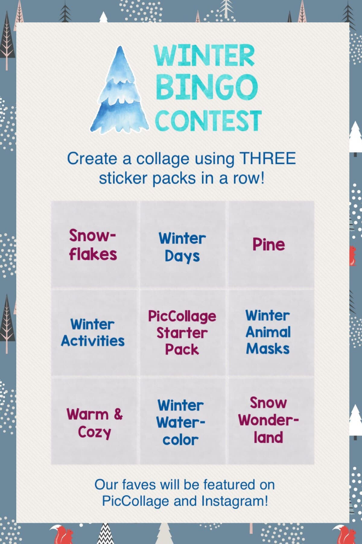 Use any THREE sticker packs in a row (horizontal / vertical / diagonal) to create a collage! Deadline is December 13, 2018! ❄️
