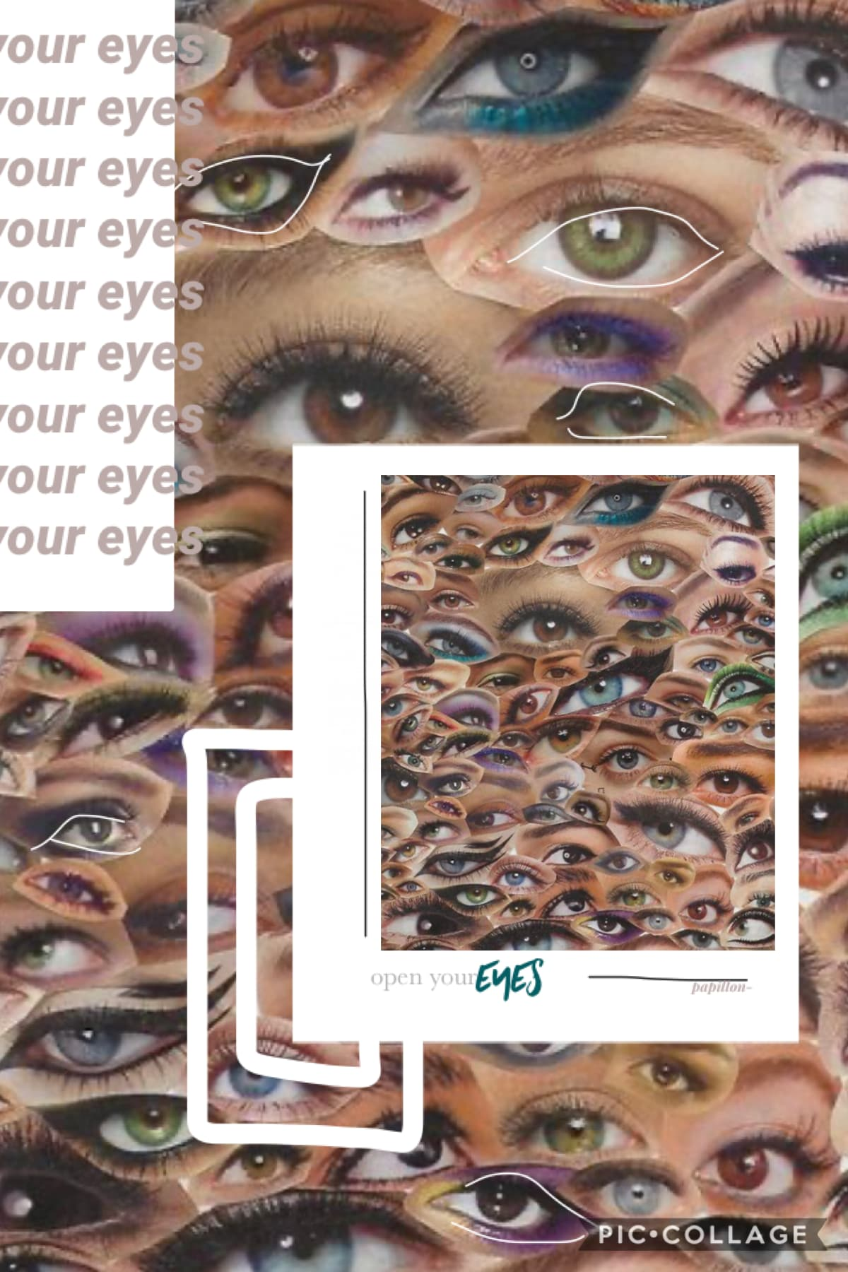 OPEN YOUR EYES hi friends! i don't think anyone is active on my account anymore lol. i disappeared for like 6 months!! i'm back, at least for now! (eye collage is from etsy)