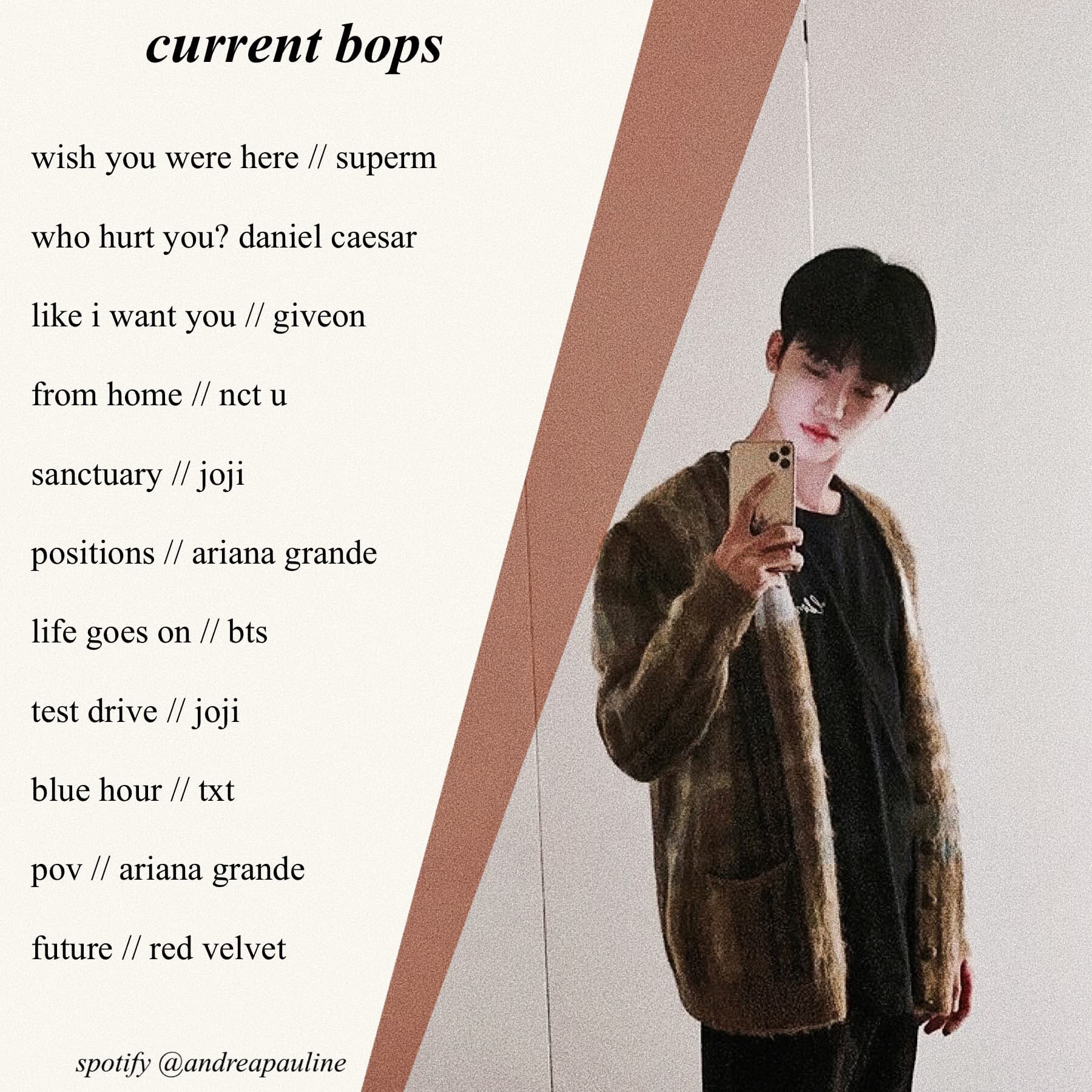 🧺 heyy >:) here's a lil playlist for my current bops :) also OMG DID YALL SEE DOYOUNG'S NEW INSTA POST, I WILL BE PASSING AWAY NOW. anyways, have a great weekend !! 😌✌🏼