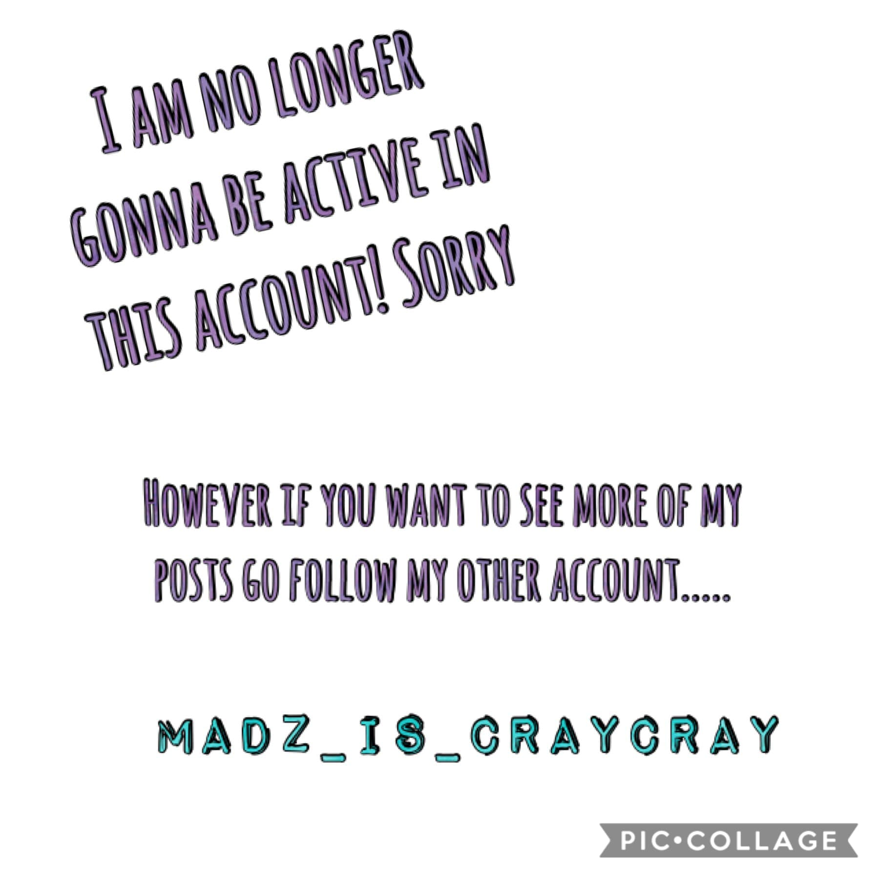 Sorry guys! 😐 but plz #madzfam go follow my other account that I will because on!