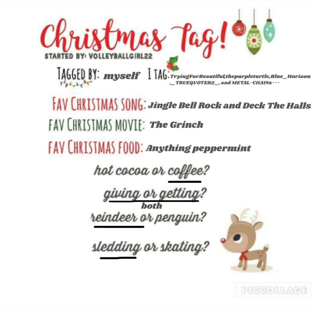 Christmas Tag!!! QOTD- What is your favorite holiday AOTD- CHRISTMAS ❄️❤️Thank you for 8.9k!!!