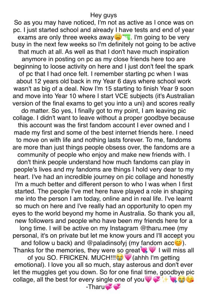 I'm going to miss you all so much😭💘💗 I'll be logging out for the last time by the end of this week xoxo