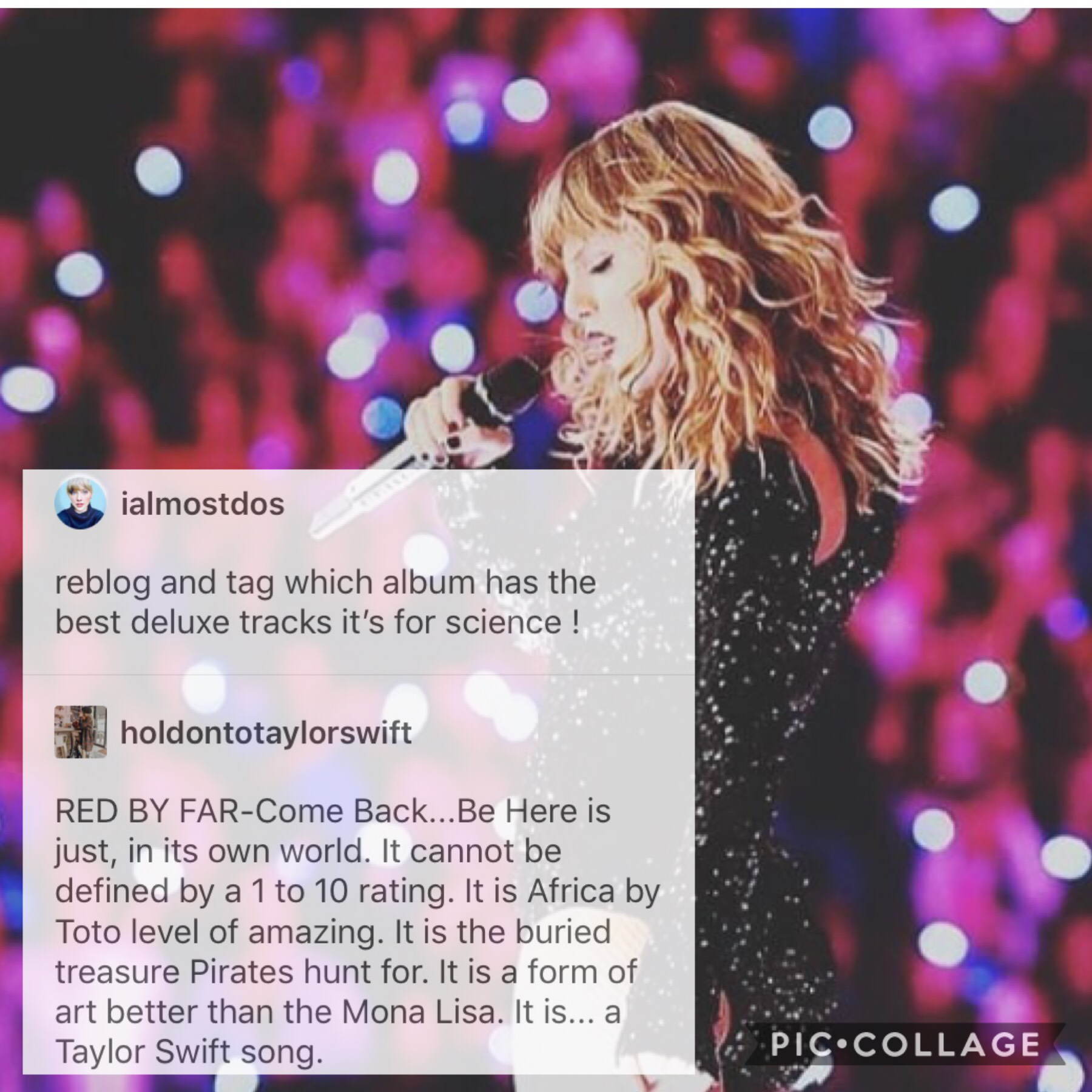 ❤️TAP❤️ The comment is very well put. Q: Which album do you think has the best bonus tracks? A: Either Red or Fearless