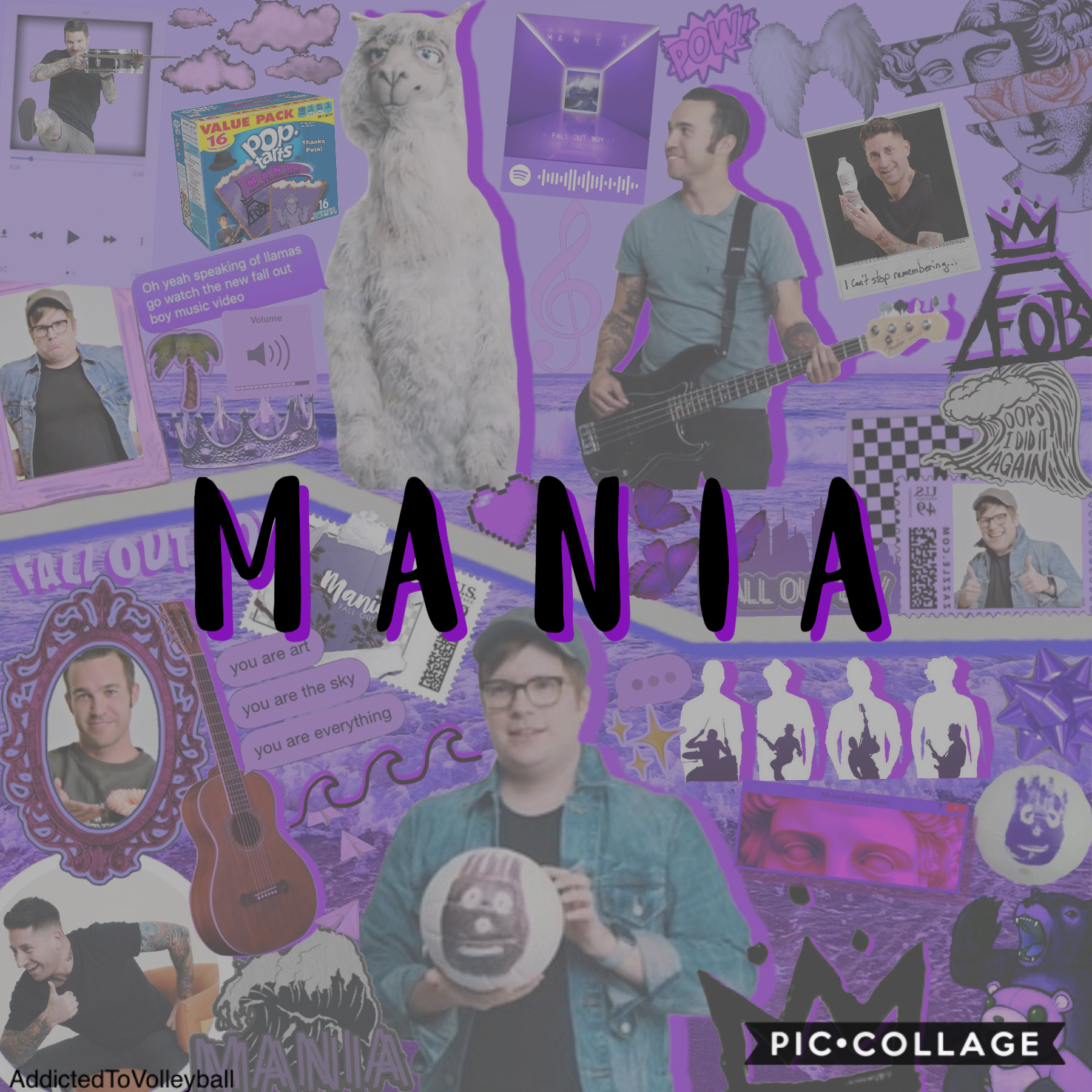 1-19-20 - two years! - tap! happy birthday to the album that saved my life. 💜 pls take this rlly horrible collage thanks 🤠 Mania means so much to me & for it to be 2 blows my mind 🤯 QOTD: fave song on MANIA? AOTD: Bishops Knife Trick 💜