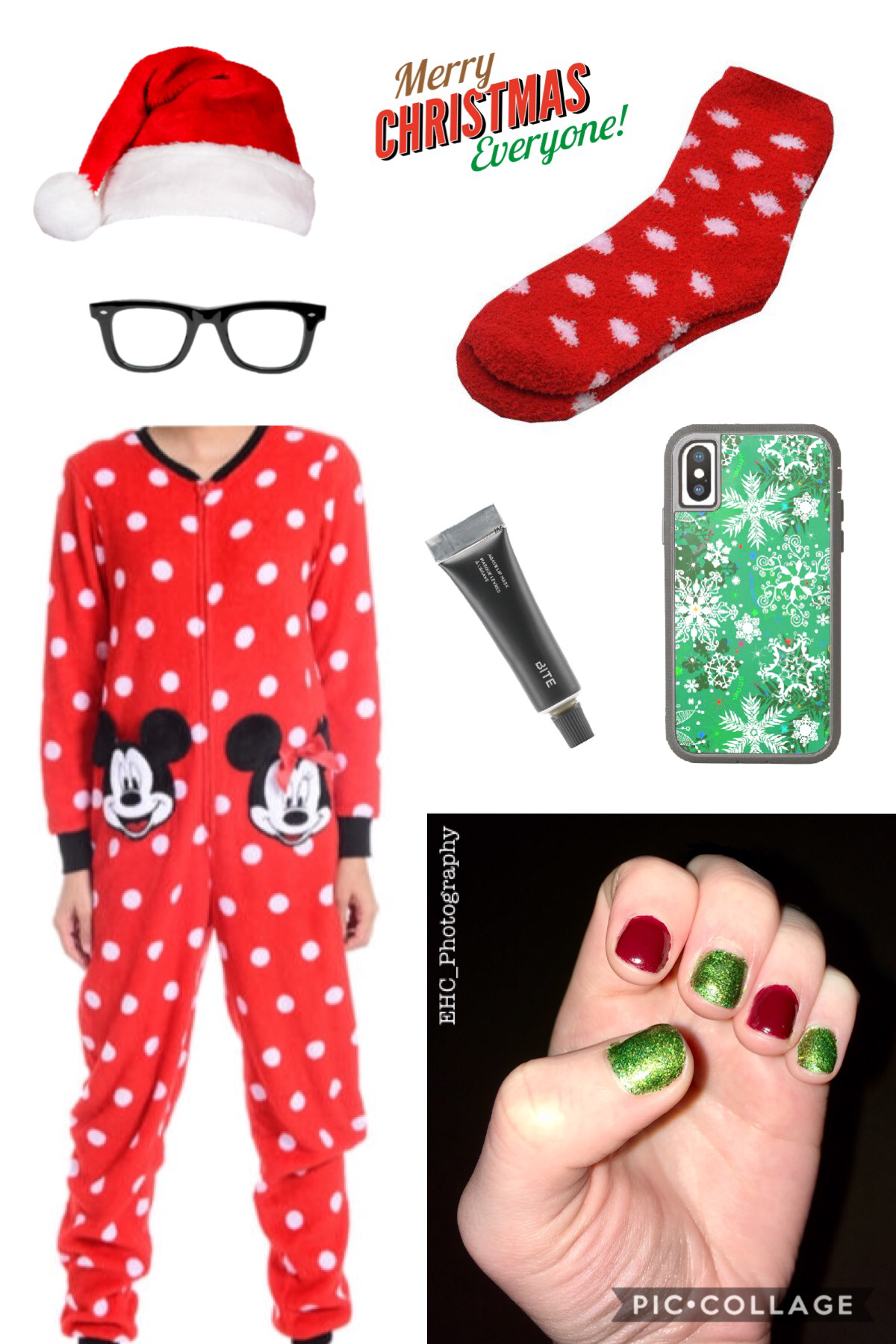 """MERRY CHRISTMAS!!! ✝️ 🎄 🎁 🎅🏻 🌟 This is my """"Christmas OOTD"""", I don't own everything shown, and I haven't worn a Santa hat at all this month, (😬) but yeah. 😂 🧦 📱 💅🏻 👓 💄 My sis got me the onesie, and I painted my nails the other day. 🥰 What did you do? 💚"""