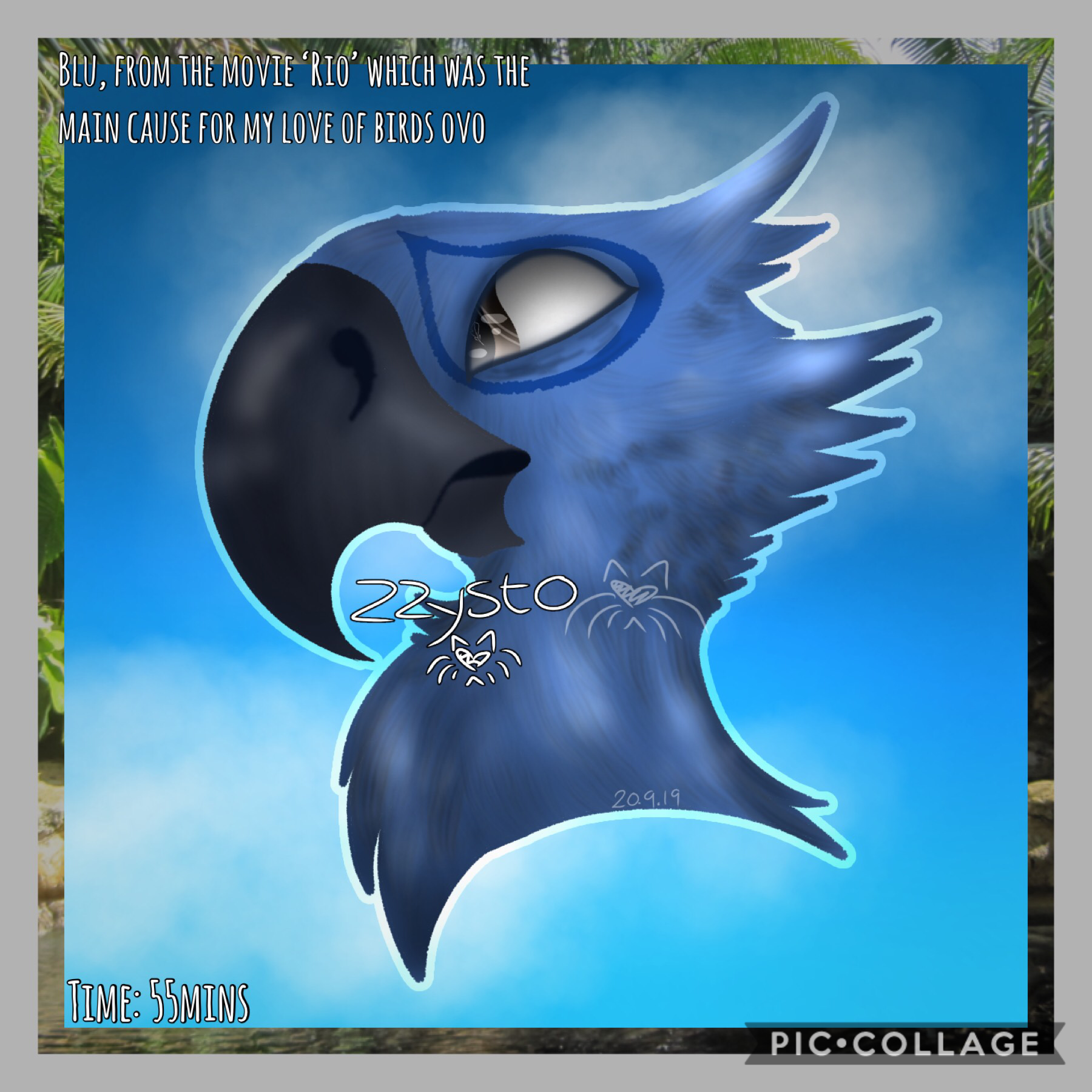"🦜Tap🦜 Decided to do some shading and highlighting practice since I'm really bad at it aa I've always liked parrots, but when this movie came out Blu was one of my favourite characters (until I got into httyd ^^""). I still have some parrot plushies I found"