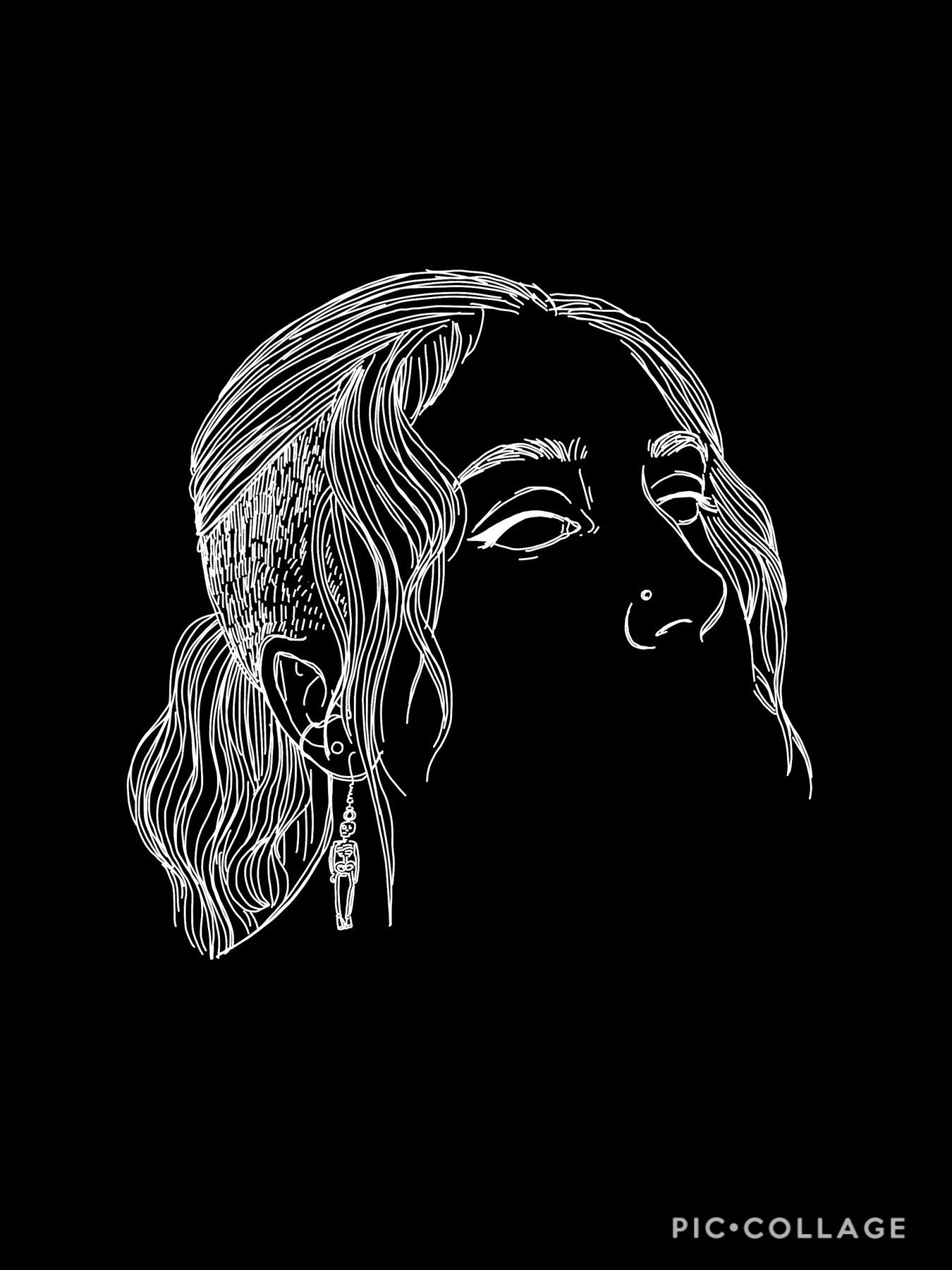 (tap) my friend gave me skeleton earrings and i feel so cool  if you want me to draw you, any person, or your pet in this style, remix me a picture, or email one to delartista011@gmail.com
