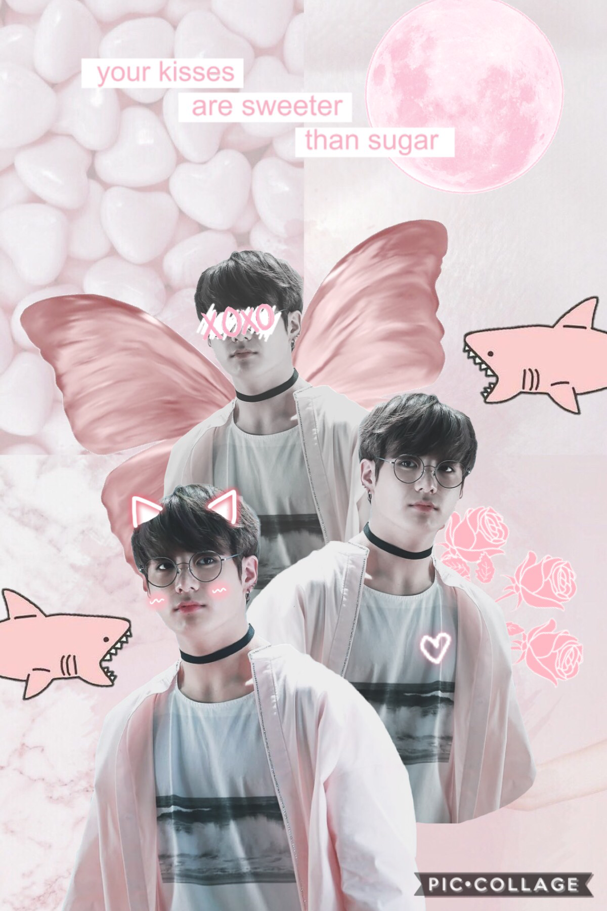 💕Tap💕  @-euphoria you inspired me to make a jk collage so this is dedicated to you  butterfly wings inspired by @jUsT-peachy 💜  the sharks would be my reaction if I saw jk irl 😮  qotd: should I start doing a qotd?