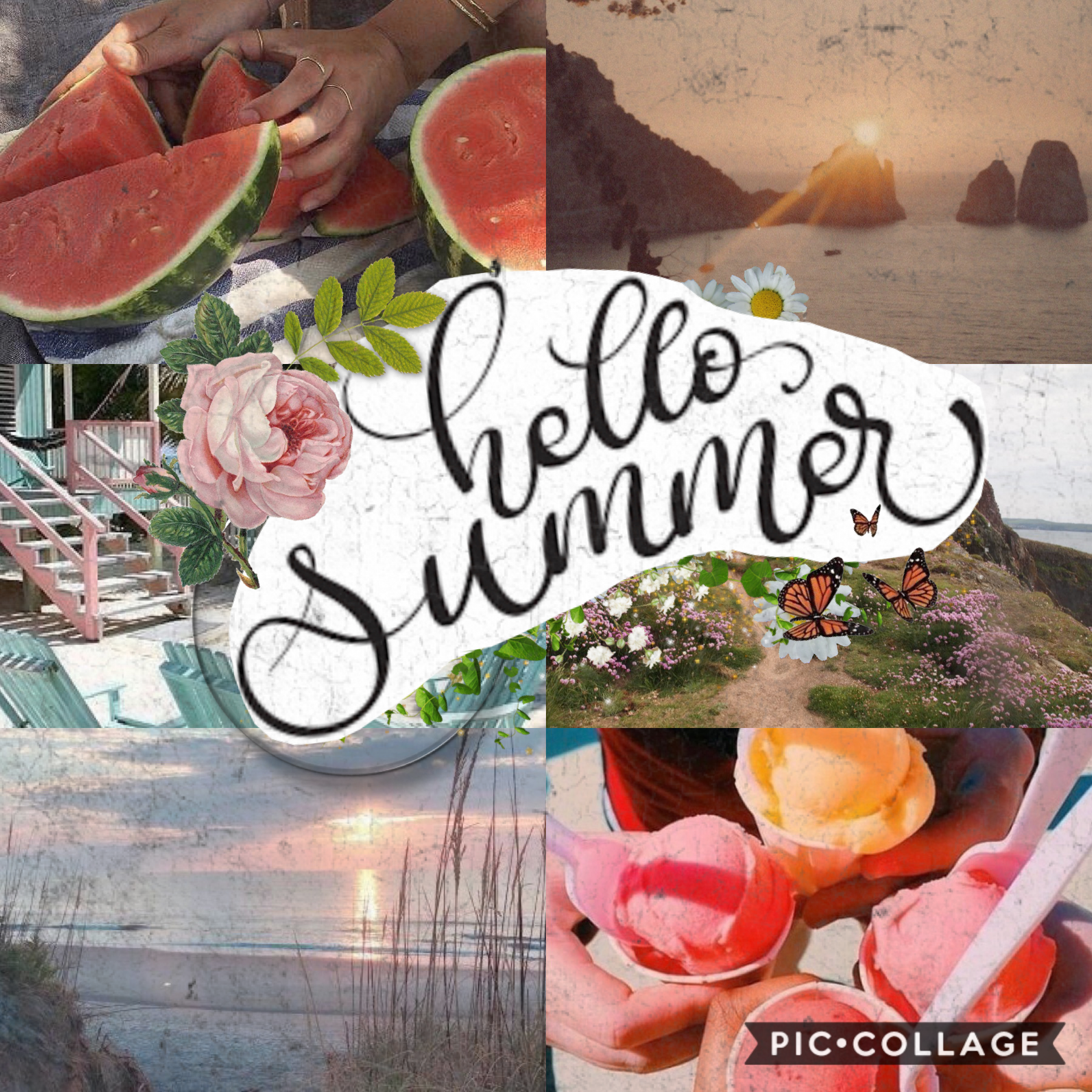 happy June! aka basically the start of the summer! entry into deluded's contest, so a collage like my first collage I posted! another double post will literally not happen again so enjoy it lol