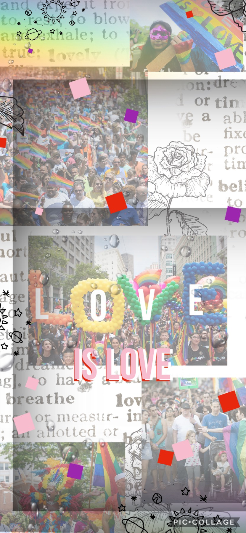ik it's stupid cuz I hadn't  been on  for like the past 3 months, but frick that,  lets post some prideee...Made it a while ago for it to be my home screen during pride month, soo it's a lot like my old style...Ima try to show some of my newer collages; t