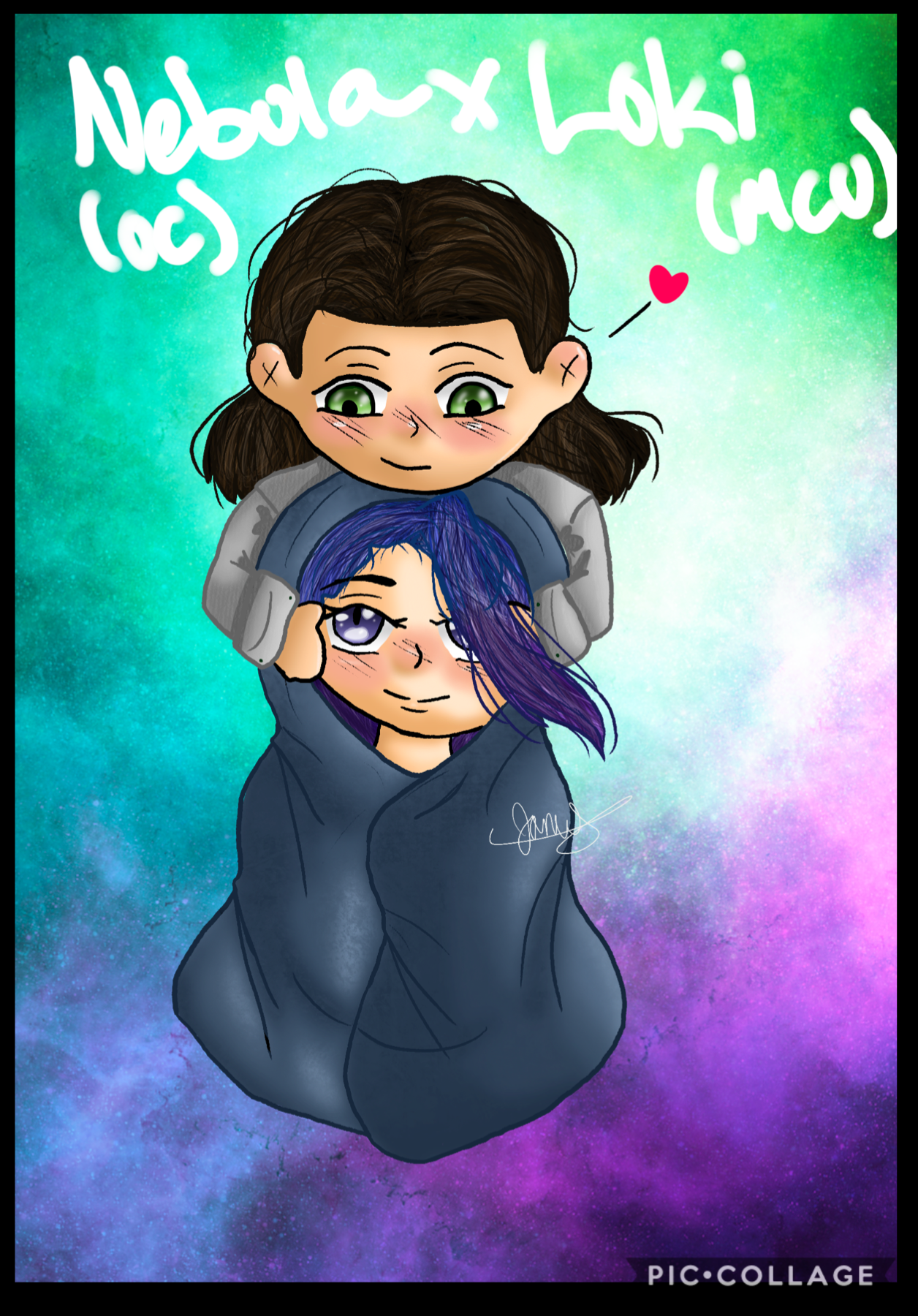 Happy Valentine's Day, all! Here's a drawing of my oc Nebula and Loki :))