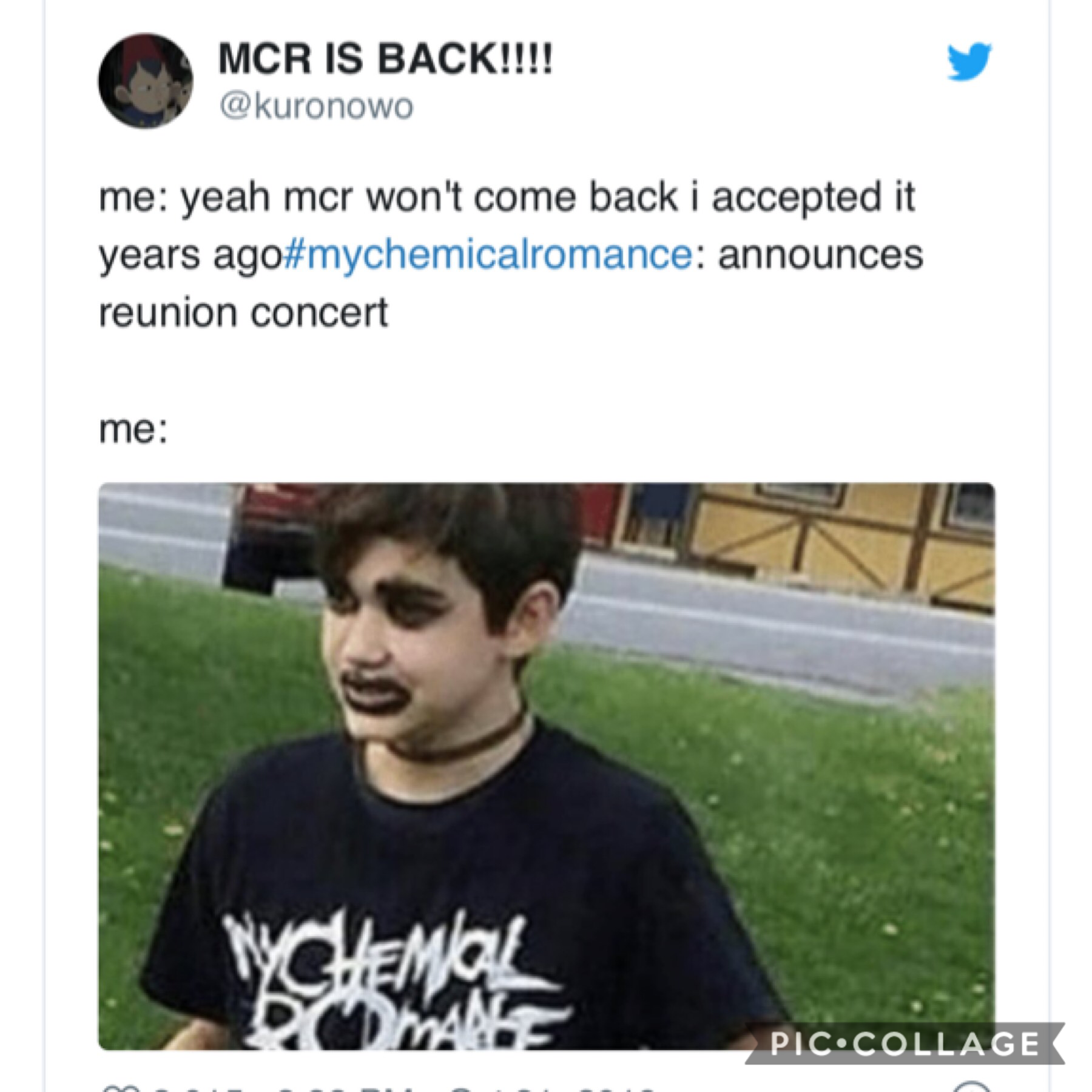 🌈🌈havnt been here in ages and came back to find out MCR is doing a concert and I might die,, my emo came back.  ALSO HAPPY HALLOWEEN TO THOSE WHO CELEBRATE IT🎃🌈🌈