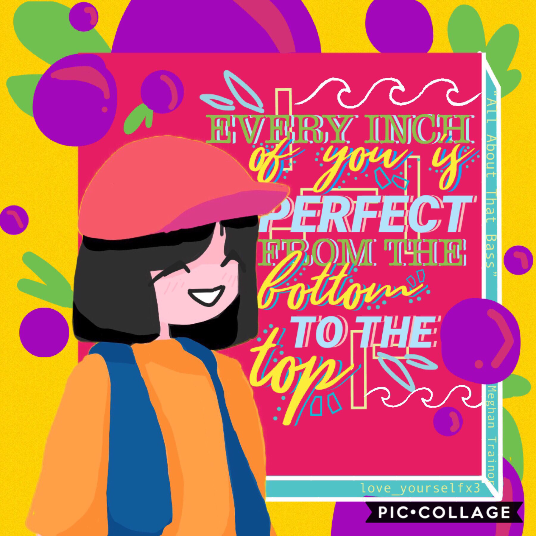 """<daily dose of positivity> 💜Tap!💜  """"All About That Bass"""" by Meghan Trainor!  I did too much on the text this time.. Welp I'll strike a balance soon!!  Want an icon like mine? Just hmu! Details in comments :))"""